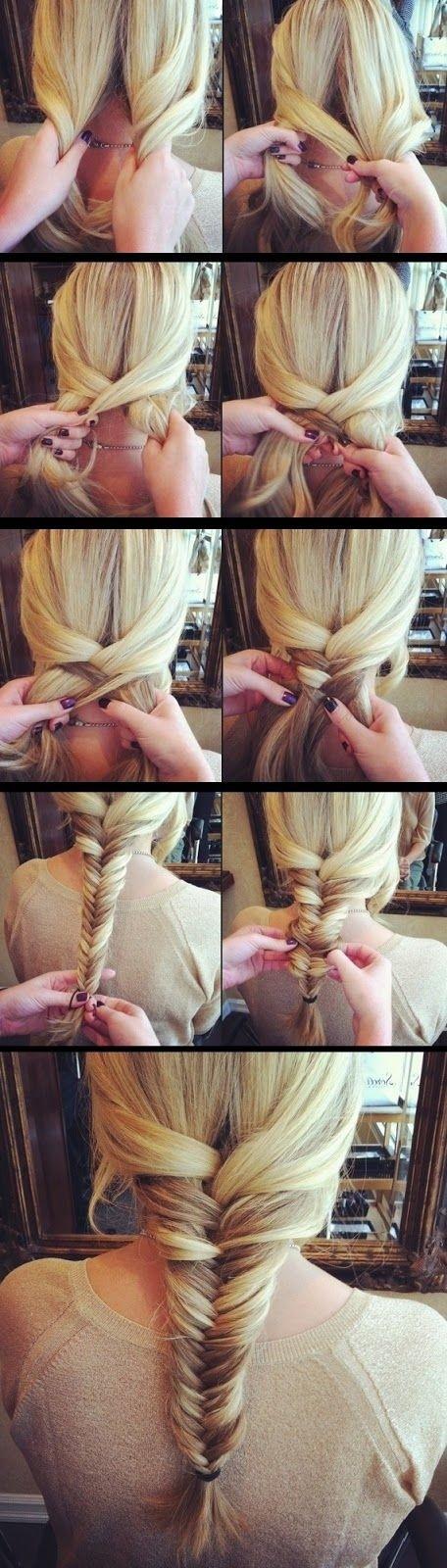 Tutoriel simple sur les coiffures tressées en queue de poisson pour cheveux longs