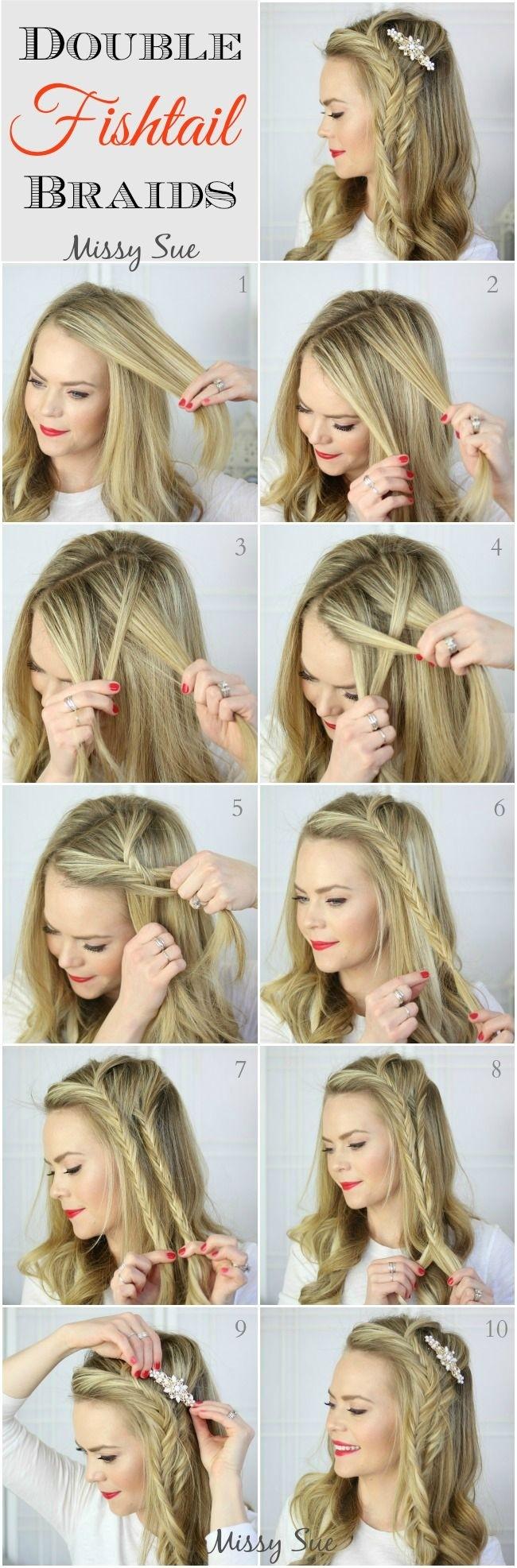 Tutoriel Double Fishtail Side Braids: Idées de coiffures longues