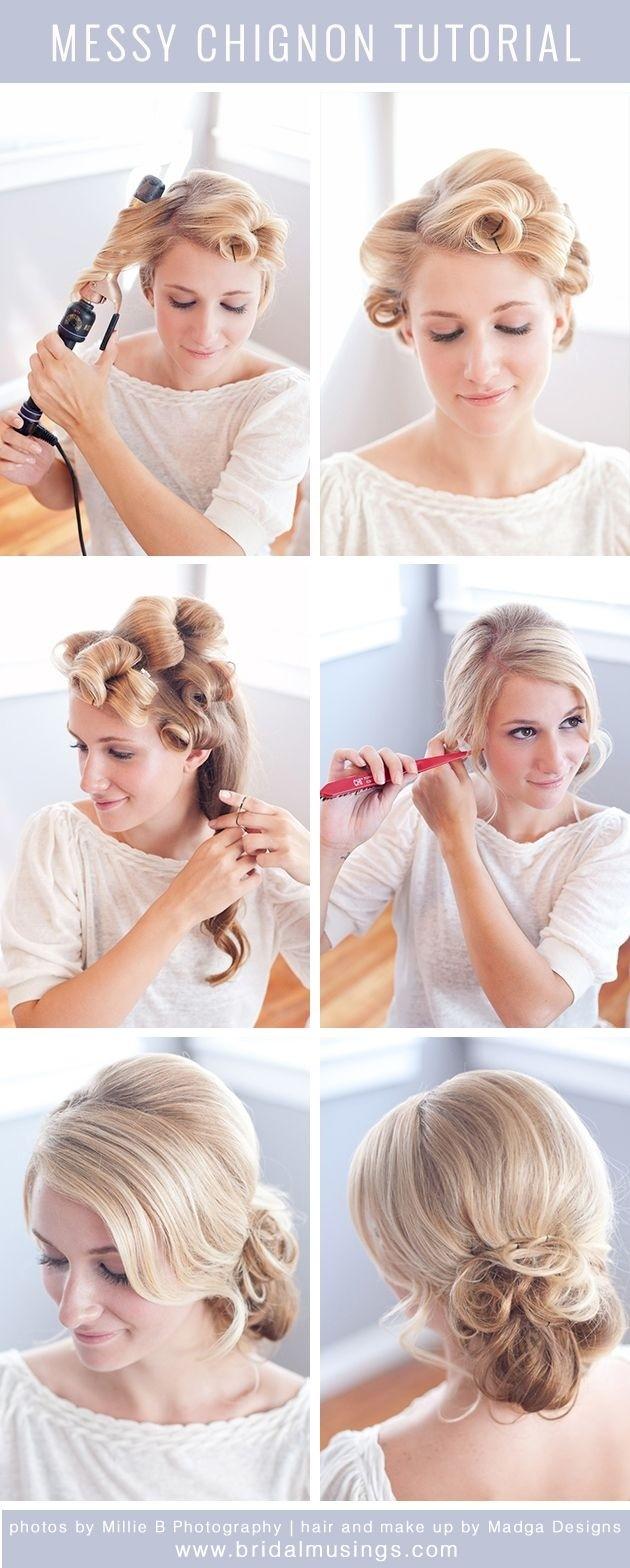 Tutoriel Messy Chignon: Conceptions de cheveux de mariage pour la mariée