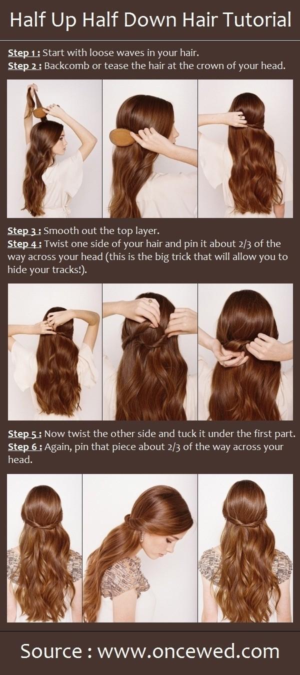 Tutoriel de coiffure mi-haut mi-bas : coiffures de mariage faciles pour cheveux longs