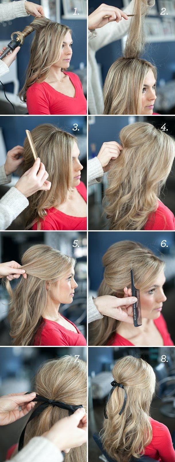 Tutoriel de coiffures de mariage assez simples pour cheveux longs: Ruban Half Updo