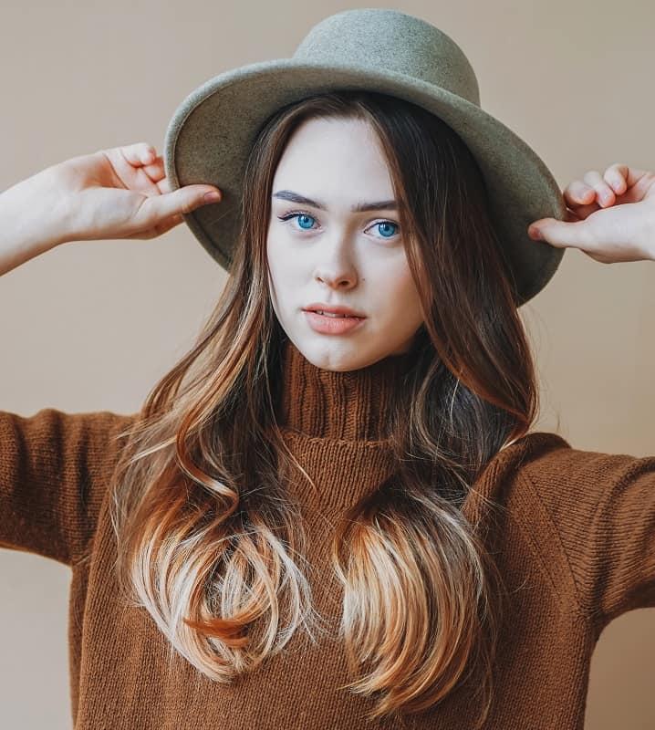 coiffure de balayage brune