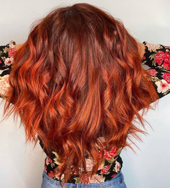 cheveux de balayage de cuivre